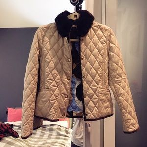 Coach Quilted beige/tan jacket with fur collar.